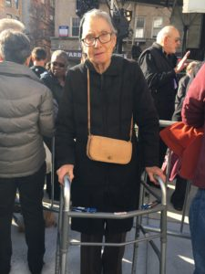 Corrine Schneider, 91 years-old, a resident of Greenwich Village attends the unveiling of NYC AIDS Memorial. Photo by Kemi Osukoya.