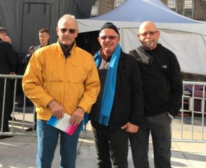 From left to right David Ralston, Edward Dunne and Michael Borden attending the NYC AIDS Memorial tribute in honor of their friends who died of the disease. Photo by Kemi Osukoya