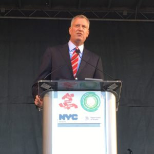 New York City Mayor Bill De Blasio speaks at the unveiling of the New York City AIDS Memorial in Greenwich Village, Manhattan on December 1, 2016.