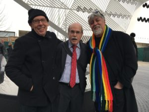 From right Gilbert Baker who designed and created the Rainbow (PRIDE) flag standing next to Richcard Allman and a friend.
