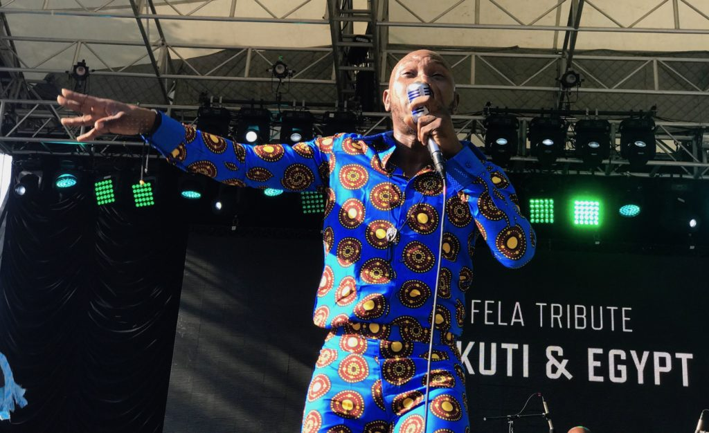 Seun Kuti on stage at New York Central Park's Rumsey Playfield
